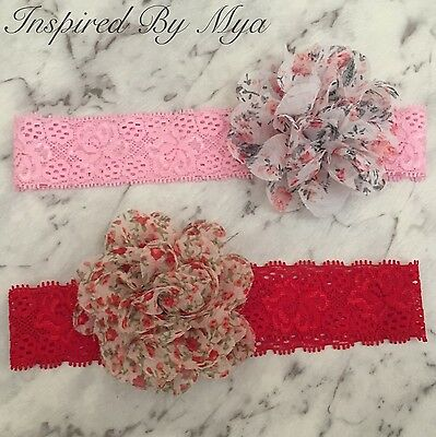 Girls Baby Headband Flower Red Pink Lace Vintage Hair Band Accessories Floral