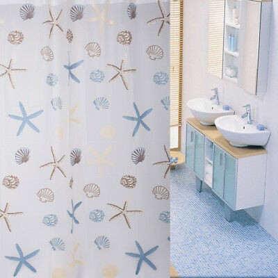 Starfish Bathroom Waterproof Shower Curtain Polyester With 12 Hooks 2 Size New