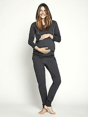 Hooded Grey Maternity Sweat Top, Pregnancy Hoodie Tracksuit/Yoga Mamalicious