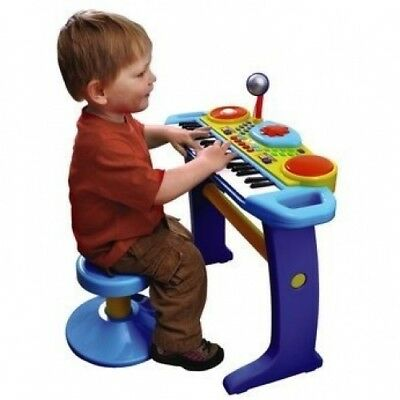 BRUIN LIGHT UP KEYBOARD WITH STOOL - BLUE. Free Delivery