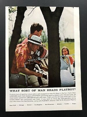 1967 Vintage Ad | 1960s What Sort Of Man Reads Playboy? Plays Golf Buys Clubs