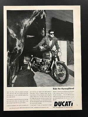 1967 Vintage Ad | 1960s Ducati Motorcycle Man Sunglasses Style Classic