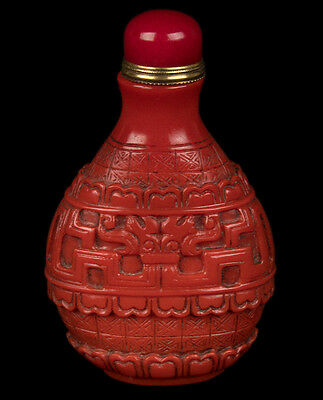 China 19./20. Jh. Glas Tabatiere A Chinese Red Glass Snuff Bottle Cinese Chinois