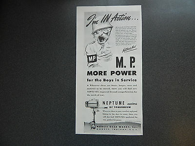 Original Vintage Ad WWII Era Neptune Motors VG Condition
