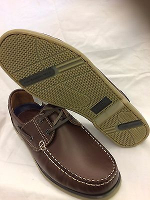 M55 Dek Mens Brown Leather Nubuck Lace Up Fashion  Moccasin Boat Casual Shoes Uk