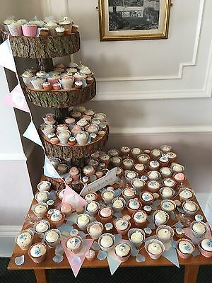 Three/Four Tiered Rustic Wooden Wedding cake/ Cup Cake stand, centre piece