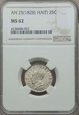 1828, AN 25, Haiti 25 Centimes, NGC MS 62, Lusterous Brilliant UNC