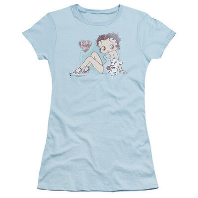 Betty Boop VINTAGE PIN UP with Puppy Licensed Juniors Cap Sleeve T-Shirt