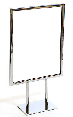 """Countertop Metal Signs Display Holder Stand Chrome 8-1/2""""W x 11""""H Lot of 10 NEW"""