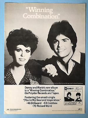 "Donny & Marie Osmond ""Winning Combination"" Original Album Release 10.5X13.5"" Ad"