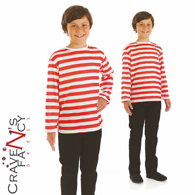 Kids Red and White Striped Top Girls Boys Book Day Wally Fancy Dress Costume New