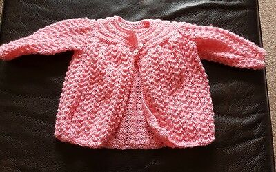 Baby Girl Pink Hand Knitted Cardigan - Size 0-3 Months Brand New