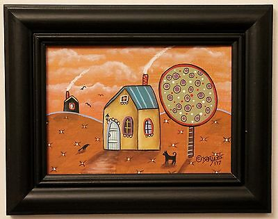 Autumn Sky ORIG Framed Canvas Panel PAINTING Folk Art Prim 5 x 7 Karla Gerard