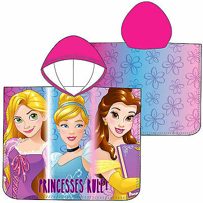 Disney Princess Girls Hooded Poncho Towel Rapunzel Belle Beauty Cinderella