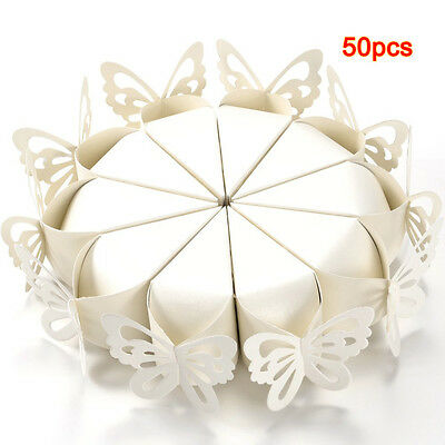 50X Butterfly Favor Gift Candy Boxes Cake Style for Wedding Party Baby Shower WK