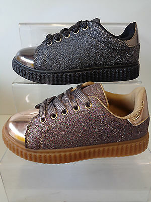 Girls Spot On Lace Up Glitter Metallic Trainers Black / Rose Gold H2413
