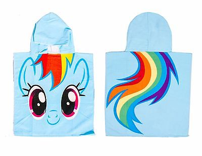 My Little Pony Kids Childrens Hooded Poncho Towel Girls Rainbow Dash Design