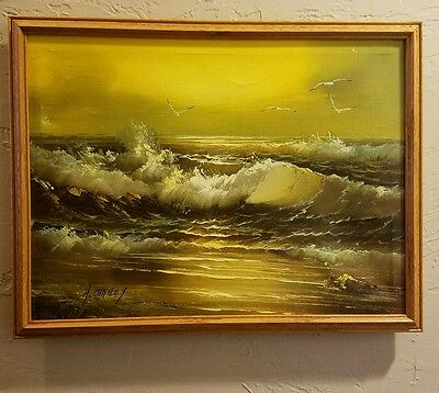 Ocean Seascape Original Framed Oil Painting on Canvas by H. Gailey