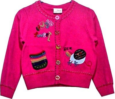 BNWT Next Girls Knitted Mouse Patched Cardigan 12-18 18-24 2-3 Years