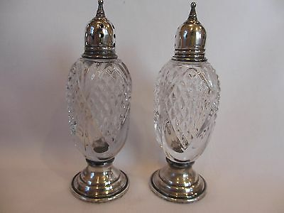 Wonderful Pair Of Sheffield Sterling Silver & Glass Salt & Pepper Shakers