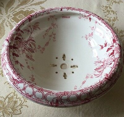 Antique Ironstone Bowl Chamber Fountain Sink Red Transferware
