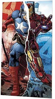 Marvel Avengers Kids Childrens Beach Towel Ironman & Captain America Superheroes