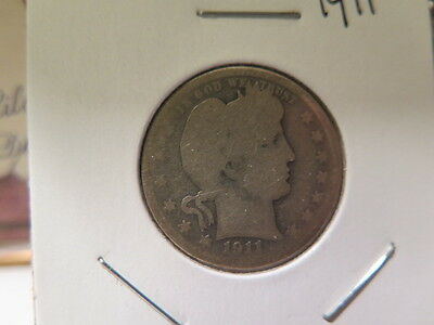 1911 25C Barber Quarter, About Good Circulated Condition. Large Coin Store #8958