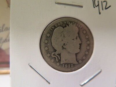 1912 25C Barber Quarter, About Good Circulated Condition. Coin Blow-out #8960