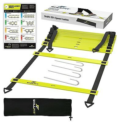SkillFit 4.6m Footwork Agility Ladder and A3 Laminated Drill Chart for Speed Tra