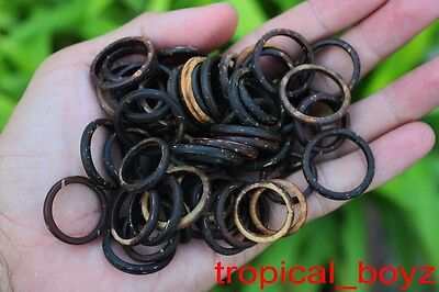 100 Islander Natural Coconut Shell Wood Wooden Handmade Rings Wholesale Lot