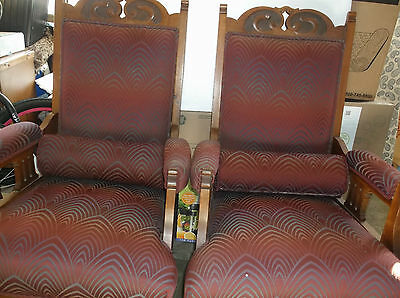 Set of Two Antique Gothic Style Wood and Upholstered Rolling Chairs/Pillows
