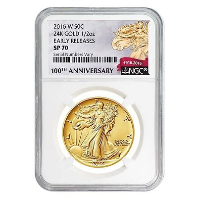 2016-W 1/2 oz Gold Walking Liberty Half Dollar Coin NGC SP70 Early Release