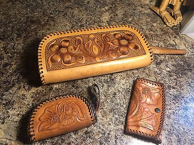 Vintage Hand Tooled Leather Purse with Coin Purse and Key Holder