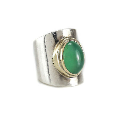 Sterling Silver Green Chalcedony Cabochon Modernist Statement ring size 6.5