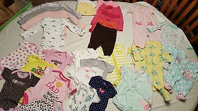 Newborn baby girl huge lot of 30 summer spring cute starter clothes EUC