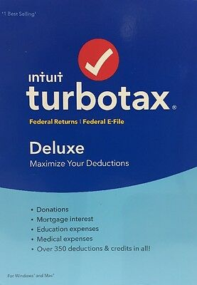New Sealed Intuit TurboTax Deluxe 2016 Federal ONLY (no State) Turbo Tax