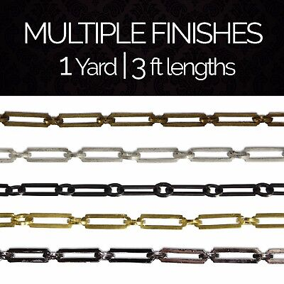 Solid Brass Rectangle Circular Chandelier Lighting Chain #21 | (1 yard or 3 ft)