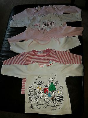 x6 baby girl cotton long sleeve tops bundle - size 0-3 months
