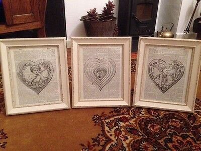 Stunning Set Of Vintage Shabby Chic Feature Wall collection Prints Heart Cherub