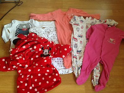 Baby Girls 3-6 Months Bundle, Sleep suits And Mini Mouse Dressing Gown