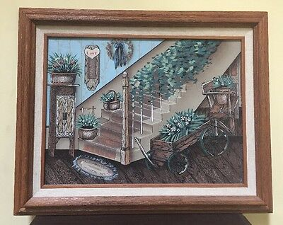 Oil Painting On Canvas Signed Framed Country Staircase Plants