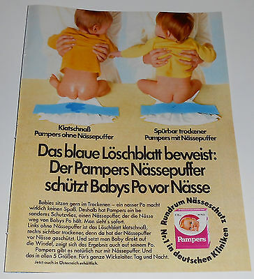 1982 vintage ad page - PAMPERS DIAPERS - GERMANY 1-PAGE PRINT ADVERT nude