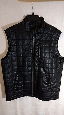 PERRY ELLIS Mens Black Soft Faux Leather Sleeveless Jacket Size L