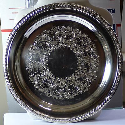 """VINTAGE SHERIDAN SILVER PLATE TRAY STAMPED w/CROWN, S & SHIELD  10 1/4"""""""