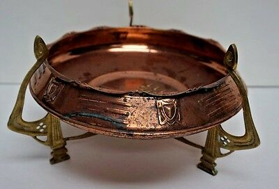 Art Nouveau Arts Crafts Secessionist Hammered Copper Bowl on Open Brass Base