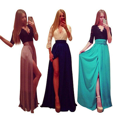 UK Women Formal Lace Long Dress Prom Party Cocktail Bridesmaid Wedding Dress NEW