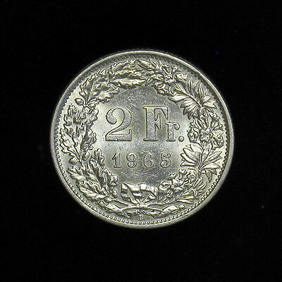 1965-B Switzerland 2 Francs silver coin