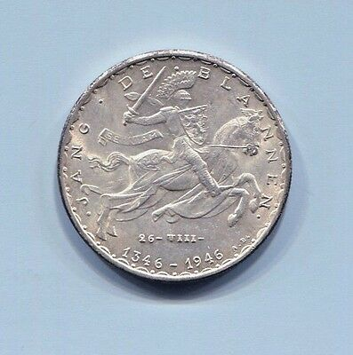 Luxembourg-Scarce Silver 20 Francs, Nd(1946), 600Th Anniversary - John The Blind