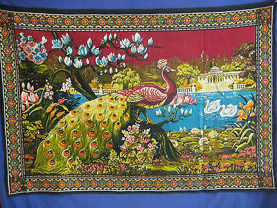 """PEACOCK Tapestry vtg 60s 70s decor India wall hanging large 58"""" x 39"""" black"""