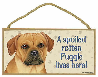 A spoiled rotten Puggle lives here! Wood Puppy Dog Sign Plaque USA Made